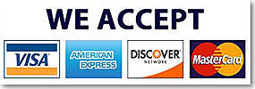 We Accept Most Credit Cards